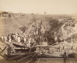 North wall, looking eastward [Victoria Dock construction, Bombay].